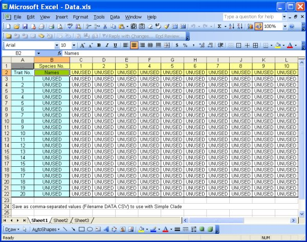 dataxls file template for data editing